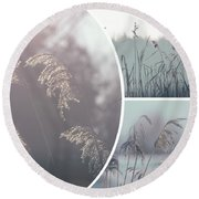 Collage Of Winter Time In Poland. Round Beach Towel