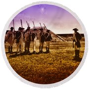 Colonial Soldiers At Fort Mifflin Round Beach Towel