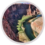 Colorado River Flows Around Horseshoe Bend  Round Beach Towel