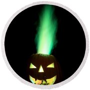 Colored Flame In Burning Pumpkin Round Beach Towel
