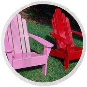 colorful Adirondack chairs Round Beach Towel