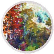 Colorful Autumn Trees In Forest Round Beach Towel