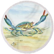Colorful Blue Crab Round Beach Towel