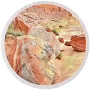 Colorful Boulders In Wash 3 In Valley Of Fire Round Beach Towel