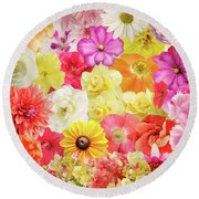 Colorful Floral Background Round Beach Towel