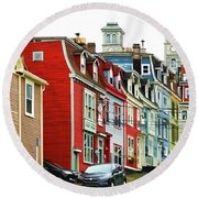 Colorful Houses In St. Johns In Newfoundland Round Beach Towel