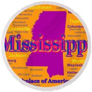 Colorful Mississippi State Pride Map Silhouette  Round Beach Towel