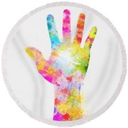 Colorful Painting Of Hand Round Beach Towel