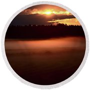 Colorful Skies Nearing Sunset Round Beach Towel