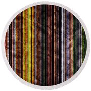 Colorful Vertical Stripes Background In Vintage Retro Style Round Beach Towel