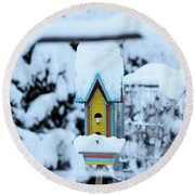 Colors In The Snow Round Beach Towel
