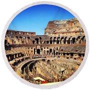 Colosseum Interior Round Beach Towel