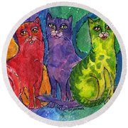 Colourful Cats Round Beach Towel