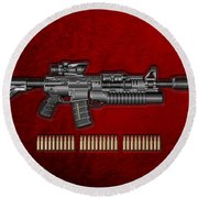 Colt  M 4 A 1  S O P M O D Carbine With 5.56 N A T O Rounds On Red Velvet  Round Beach Towel