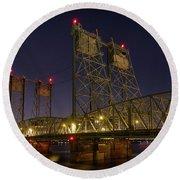 Columbia Crossing I-5 Interstate Bridge At Night Round Beach Towel