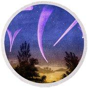 Comets In Night Sky Round Beach Towel