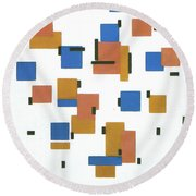 Composition With Colours Round Beach Towel