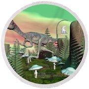 Compsognathus Dinosaur - 3d Render Round Beach Towel