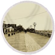 Coney Island Boardwalk Round Beach Towel