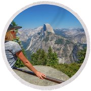 Contemplating Glacier Point Round Beach Towel