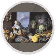 Cookmaid With Still Life Of Vegetables And Fruit Round Beach Towel