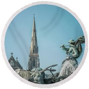 Copenhagen Gefion Fountain Round Beach Towel