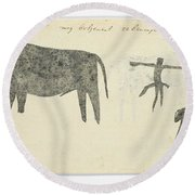 Copies After San Rock-paintings Of An Ox, A Baboon, And A Man, Robert Jacob Gordon, 1777 Round Beach Towel