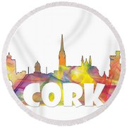 Cork Ireland Skyline Round Beach Towel