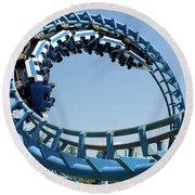 Cork-screw Rollercoaster And Ferris-wheel Round Beach Towel