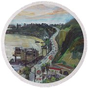 Corral Canyon View Round Beach Towel