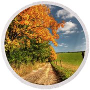 Country Road And Autumn Landscape Round Beach Towel