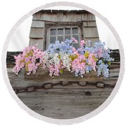 Country Window Round Beach Towel