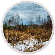 Country Winter 3 Round Beach Towel
