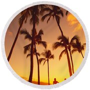 Couples Vacation Round Beach Towel