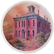 Courthouse Belmont Ghost Town Nevada Round Beach Towel