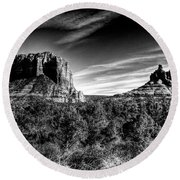 Courthouse Butte And Bell Rock Sedona Arizona Round Beach Towel