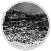 Courthouse Butte And Bell Rock Under Snow Round Beach Towel