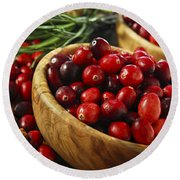 Cranberries In Bowls Round Beach Towel