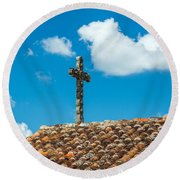 Cross And Tiled Roof Round Beach Towel