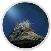 Crowsnest Mountain  Round Beach Towel