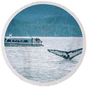 Cruise Ship Pier 91 In Seattle Washington Round Beach Towel