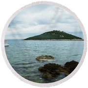 Cunski Beach And Coastline, Losinj Island, Croatia Round Beach Towel