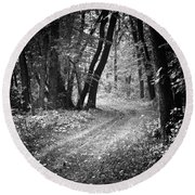 Curving Trail Entering Deciduous Forest Round Beach Towel