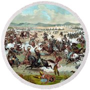 Custer's Last Stand Round Beach Towel