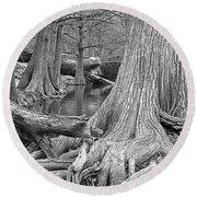 Cypress Trees I V Round Beach Towel