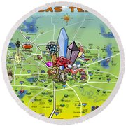 Dallas Texas Cartoon Map Round Beach Towel