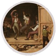 Dance Of The Haymakers Round Beach Towel