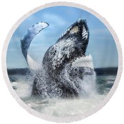 Dances With Whales Round Beach Towel