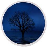 Dark Tree Round Beach Towel