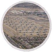 Davis-monthan Air Force Base Airplane Round Beach Towel